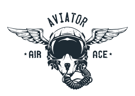 Fighter Pilot Helmet. Emblem t-shirt design.