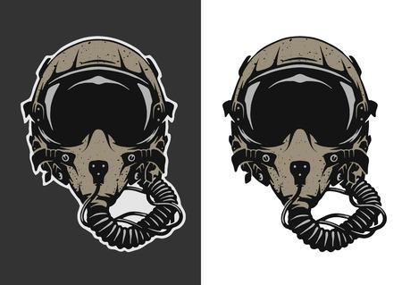 暗くおよび白い背景の戦闘機パイロットのヘルメット。