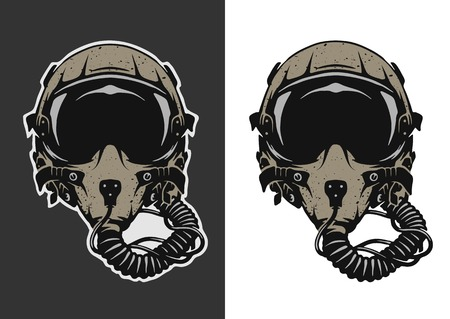 Fighter Pilot Helmet for dark and white background. Ilustração