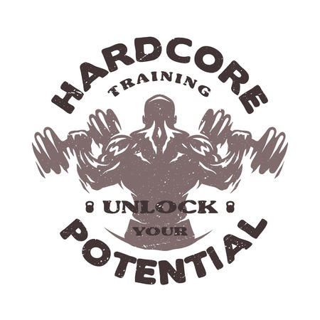 Hardcore training Emblem t-shirt design. Stock Vector - 63631742