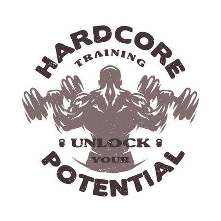workout gym: Hardcore training Emblem t-shirt design.