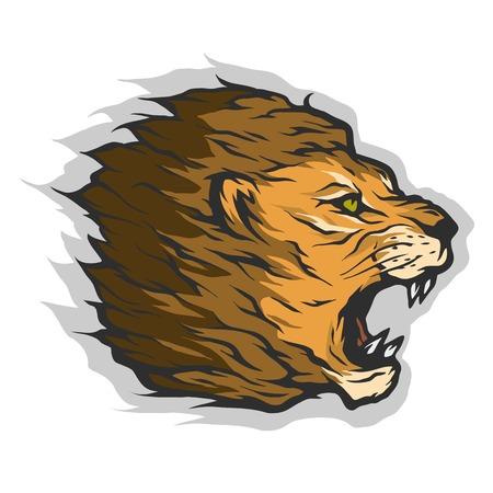 とどろくライオン頭カラー バージョン  イラスト・ベクター素材
