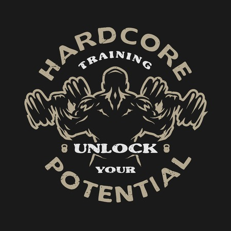 Hardcore training Emblem t-shirt design. Dark backdrop.