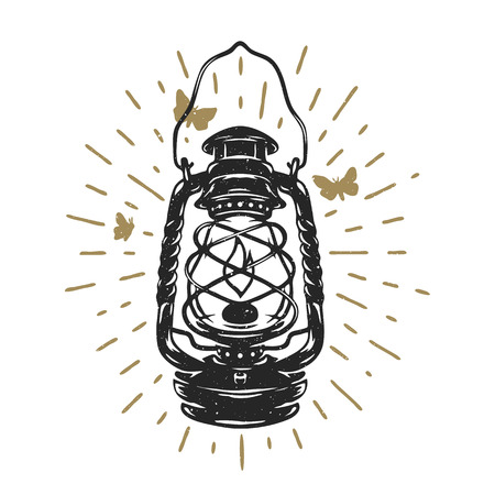 Kerosene lamps vintage design Vector illustration.