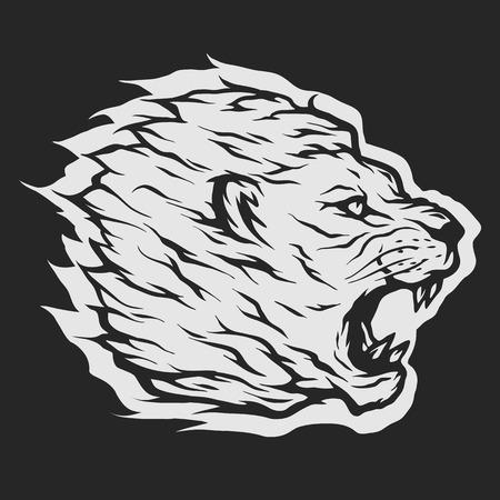 roaring: Roaring lion head Dark backdrop. Illustration