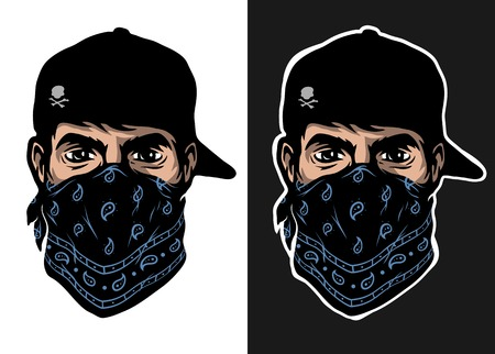 A guy in a baseball cap and bandana, two options.