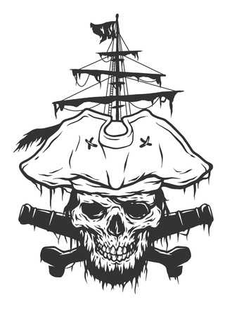sea robber: Captain skull on a background of pirate attributes. Vector illustration.