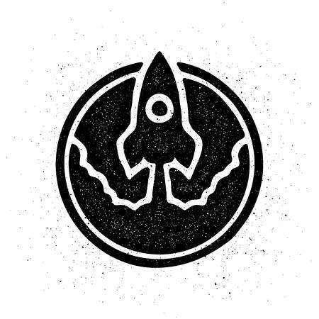 The rocket takes off logo symbol. Vector illustration.
