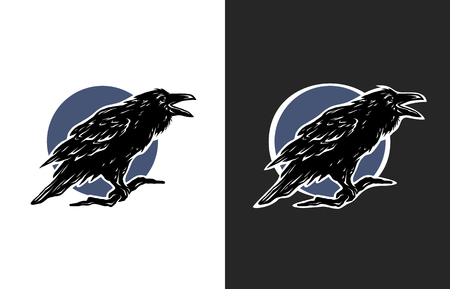 Black Crow two options Symbol logo. Illustration