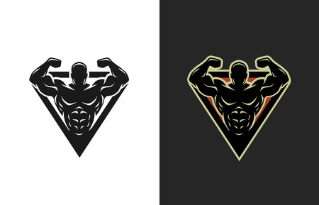 fit body: Bodybuilding logo two options Vector illustration.