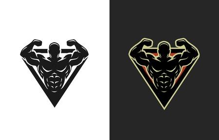 Kulturystyka logo dwa warianty ilustracji wektorowych.
