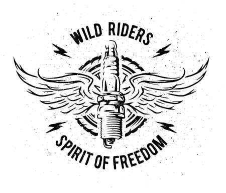 racing wings: Spark plug with wings. Vintage auto emblem t-shirt design.