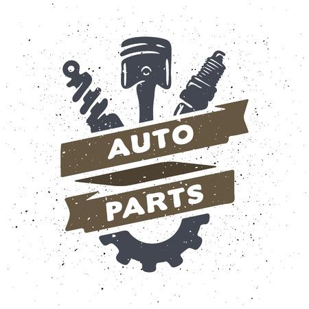 Auto Teile Hand Selbstemblem gezeichnet. Vektorgrafik