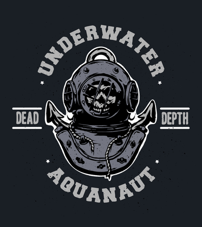 Old iron diving helmet Emblem t-shirt design.