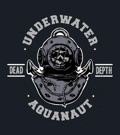 drowned: Old iron diving helmet Emblem t-shirt design.