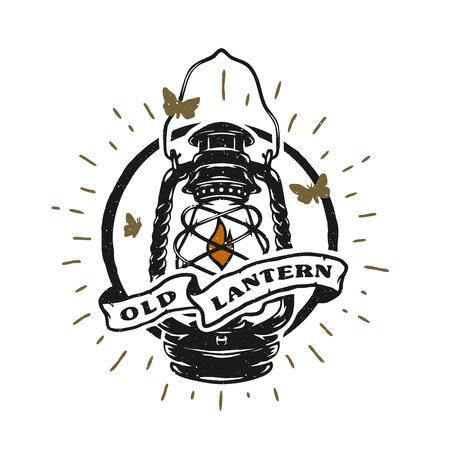 Old kerosene lamp Vintage emblem. Illustration