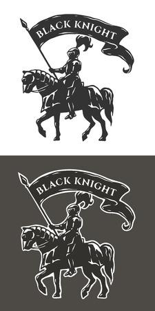Equestrian knight in armor. Illustration