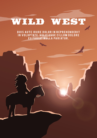 Silhouette of an Indian on the background of the wild west. Stock Photo