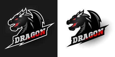 Logo Dragon, stile sportivo. Due opzioni. Archivio Fotografico - 71336958