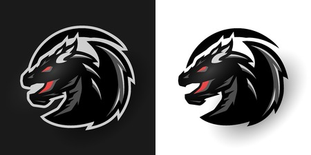 black: Round dragon logo. Two options. Stock Photo