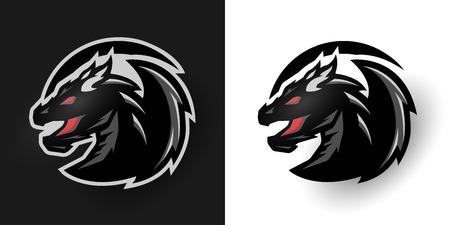 Rund Drachen-Logo. Zwei Optionen. Standard-Bild - 71387957