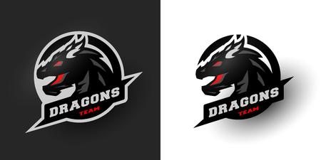 Logotipo del dragón del deporte. Dos opciones. Foto de archivo - 71579642
