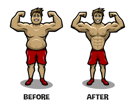 athletic: Before and after weight loss. Fat guy and athletic guy. Illustration