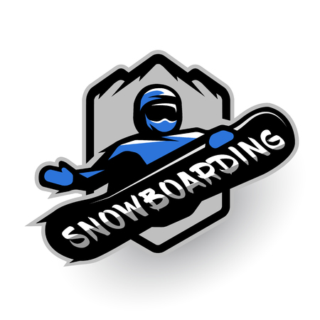 Jumping snowboarder sport logo Vector illustration.