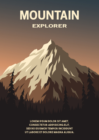 Mountain landscape and forest poster. Vector illustration.