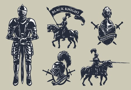 Set of medieval knights mounted knights plate armour emblems. Ilustrace