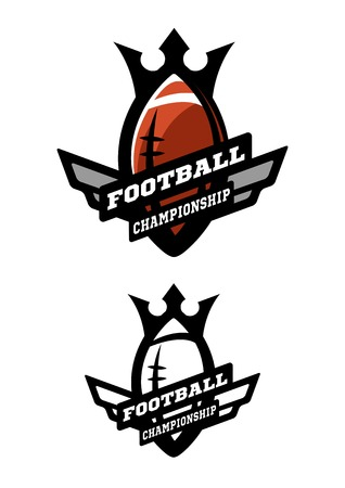 American football. Two options color and monochrome logo.