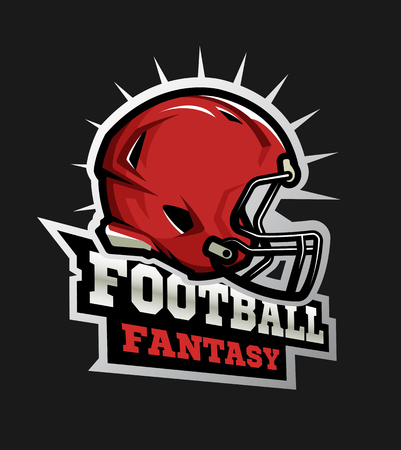 American football modern logo, Fantasy football.