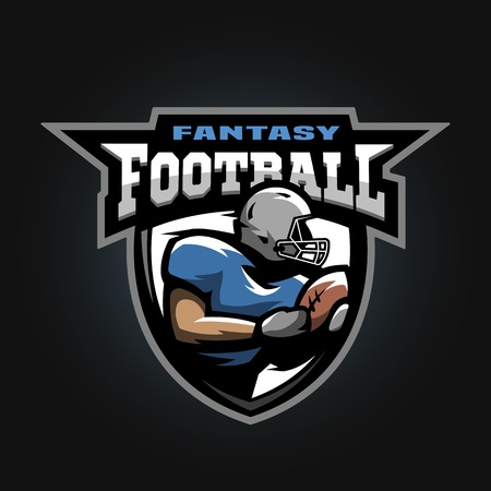 american sport: American football sport logo. Running athlete with a ball. Illustration
