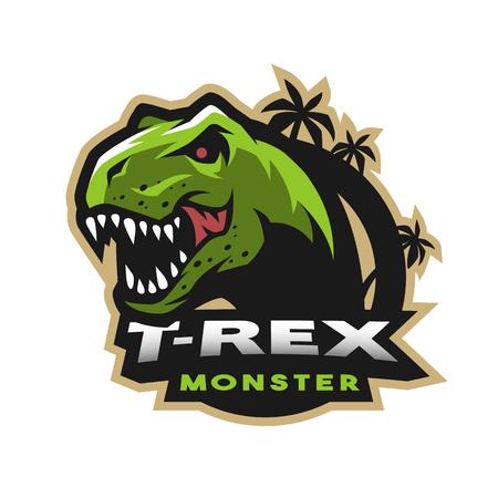 Dinosaur hoofd logo, embleem. T-rex monster.