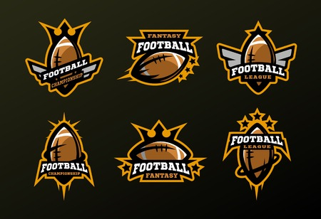 Set of sports logos, games in American football . Illustration
