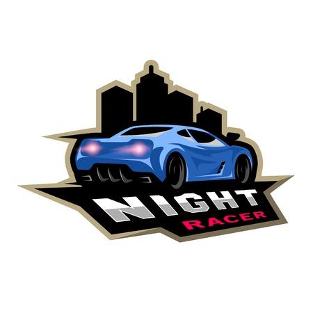 Night street racer, emblem, logo.