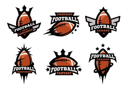 American football set of logos.