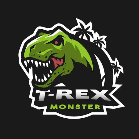 Logotipo de cabeza de dinosaurio, emblema.