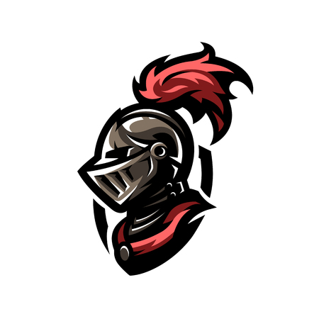 Medieval warrior knight in helmet. Stock Illustratie
