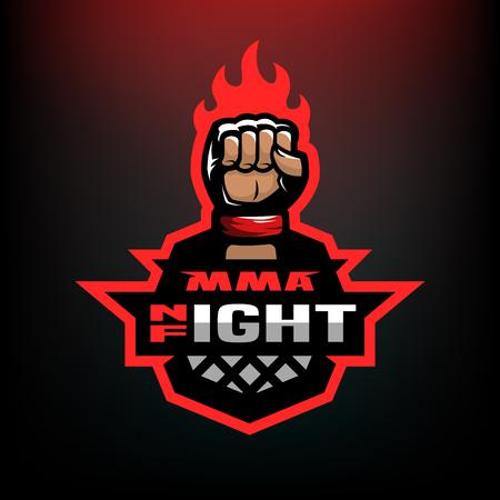 Night fight. Mixed martial arts sport logo. Иллюстрация