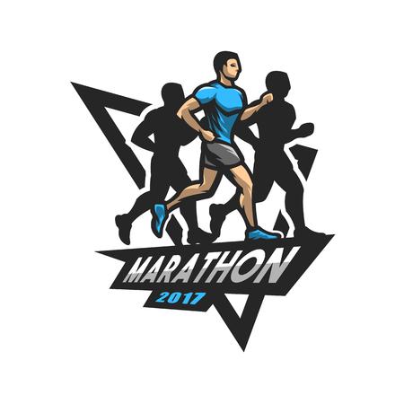 Running marathon, emblem, logo. Фото со стока - 76364892
