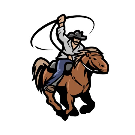 Cowboy with a lasso on a horse. Vector illustration.