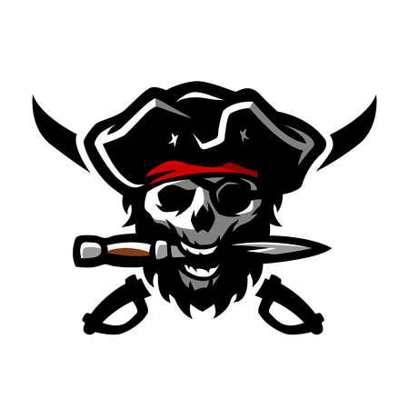 robber: The skull of a pirate, with a dagger in his teeth.