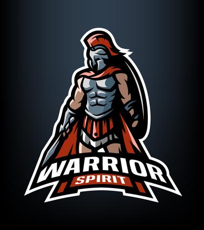 戦士の精神。ローマ戦士のロゴ。  イラスト・ベクター素材