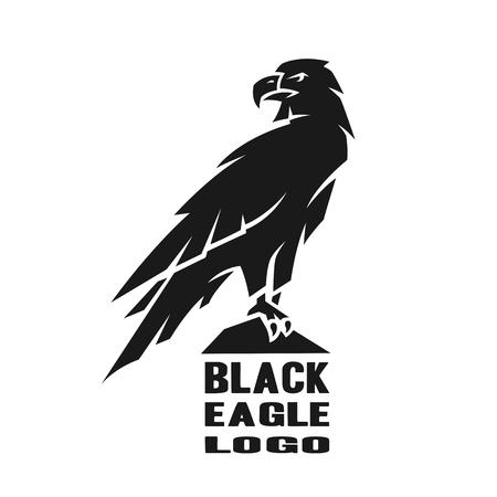 Logo d'aigle monochrome. Banque d'images - 80048345