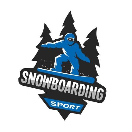 Snowboarding wintersport, logo, embleem. Stock Illustratie