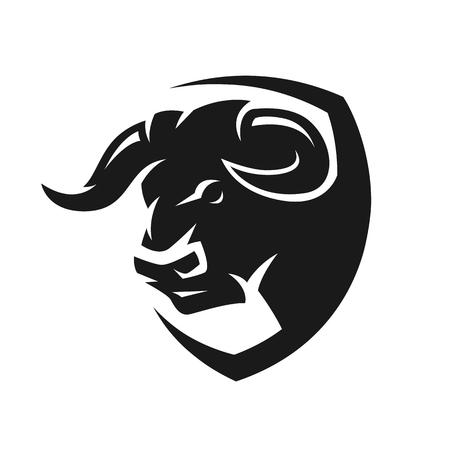 Hoofd van een stier, zwart-wit logo. Stockfoto