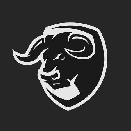 Angry bull, monochrome logo on a dark background.