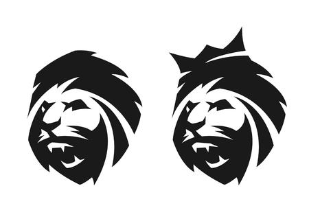 ライオン、クラウンとなし、2 つのオプションの頭。モノクロのロゴ。