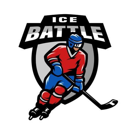 Joueur de hockey, logo, emblème. Banque d'images - 81582867